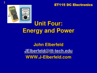 Unit Four: Energy and Power