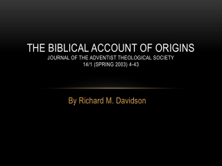 Part One Cosmic Origins Chapter One Creations: Genesis 1-3