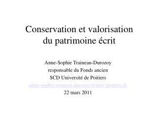 Conservation et valorisation du patrimoine  crit