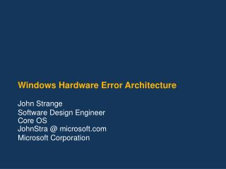 Windows Hardware Error Architecture