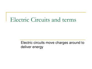 Electric Circuits and terms