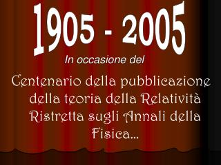 Centenario della pubblicazione della teoria della Relativit  Ristretta sugli Annali della Fisica
