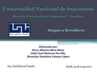 Universidad Nacional de Ingenier a  Recinto Universitario Augusto C. Sandino