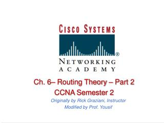 Ch. 6  Routing Theory   Part 2 CCNA Semester 2 Originally by Rick Graziani, Instructor Modified by Prof. Yousif