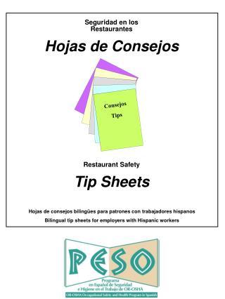 Hojas de consejos biling es para patrones con trabajadores hispanos Bilingual tip sheets for employers with Hispanic wor