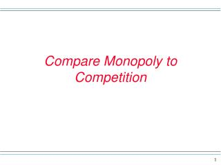 Compare Monopoly to Competition