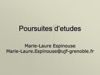 Poursuites d etudes