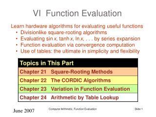 VI  Function Evaluation