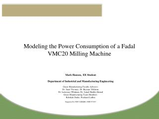 Modeling the Power Consumption of a Fadal VMC20 Milling Machine