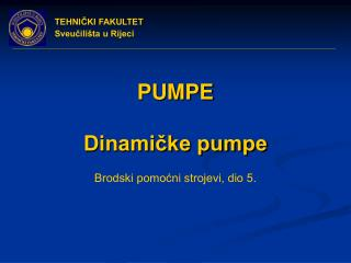 PUMPE  Dinamicke pumpe