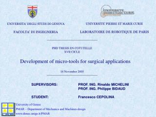 Development of micro-tools for surgical applications