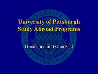 University of Pittsburgh Study Abroad Programs