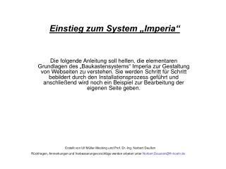Einstieg zum System  Imperia