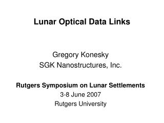 Lunar Optical Data Links