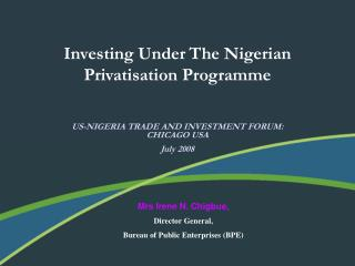 Investing Under The Nigerian Privatisation Programme