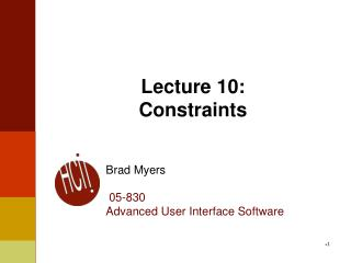 Lecture 10: Constraints