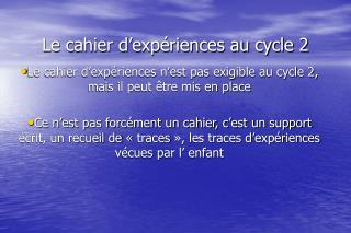 Le cahier d exp riences au cycle 2