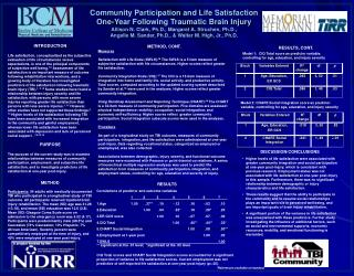 Community Participation and Life Satisfaction One-Year Following Traumatic Brain Injury  Allison N. Clark, Ph.D., Margar
