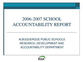 2006-2007 SCHOOL ACCOUNTABILITY REPORT