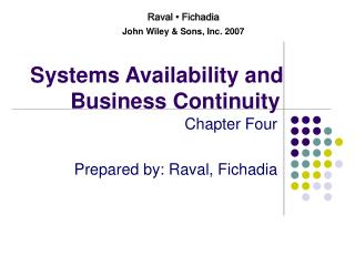 Systems Availability and Business Continuity