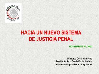 HACIA UN NUEVO SISTEMA  DE JUSTICIA PENAL        NOVIEMBRE 09, 2007