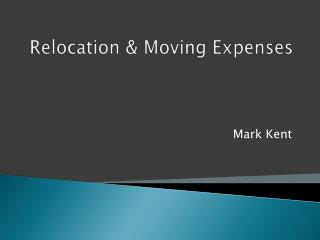 Relocation  Moving Expenses