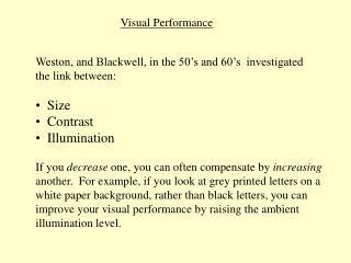 Visual Performance