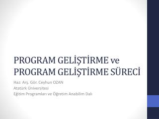 PROGRAM GELISTIRME ve PROGRAM GELISTIRME S RECI