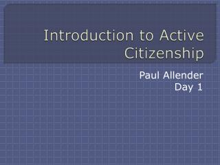 Introduction to Active Citizenship