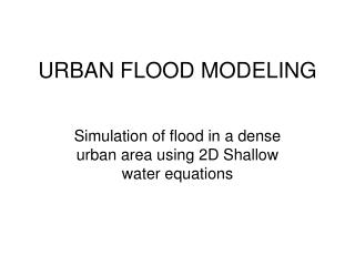 URBAN FLOOD MODELING