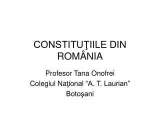 CONSTITUTIILE DIN ROM NIA