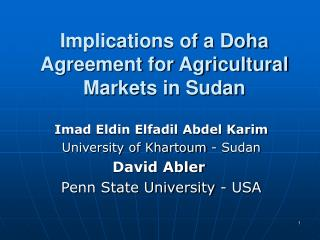 Implications of a Doha Agreement for Agricultural Markets in Sudan