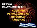 MPW 1133 MALAYSIAN STUDIES