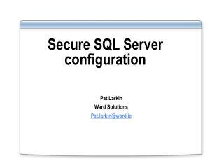 Secure SQL Server configuration