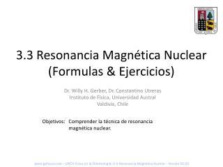 3.3 Resonancia Magn tica Nuclear Formulas  Ejercicios