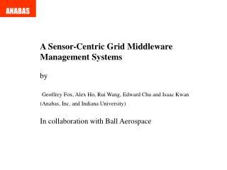 A Sensor-Centric Grid Middleware  Management Systems  by   Geoffrey Fox, Alex Ho, Rui Wang, Edward Chu and Isaac Kwan An