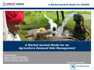 A Market-backed Model for an  Agriculture Demand Side Management