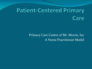 Patient-Centered Primary Care