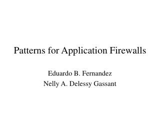 Patterns for Application Firewalls