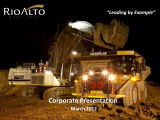 Corporate Presentation  March 2012