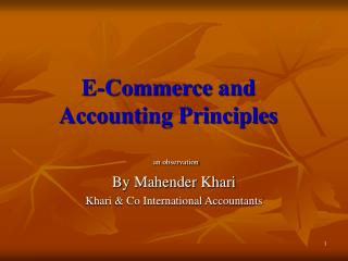 E-Commerce and Accounting Principles
