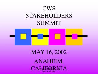 CWS Stakeholders Summit          May 16-17, 2002