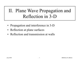 II.  Plane Wave Propagation and Reflection in 3-D