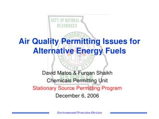 Air Quality Permitting Issues for Alternative Energy Fuels