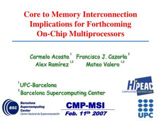Core to Memory Interconnection Implications for Forthcoming  On-Chip Multiprocessors