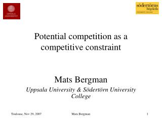 Potential competition as a competitive constraint