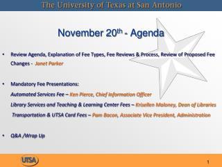 November 20th - Agenda