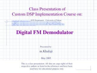 Digital FM Demodulator
