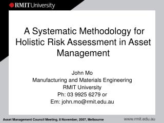 A Systematic Methodology for Holistic Risk Assessment in Asset Management