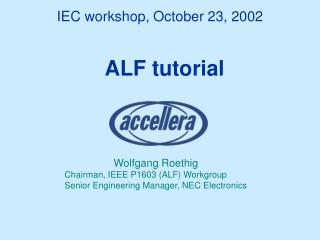 IEC workshop, October 23, 2002